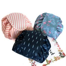 Portable cb online shopping - Flamingo Drawstring Bags Large Capacity Lazy Cosmetic Bag Portable Travel Make Up Storage Handbag Factory Direct Sale js CB