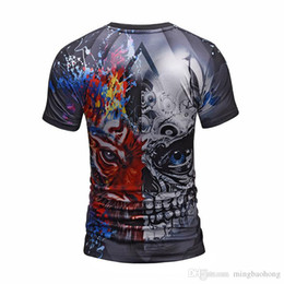 wrinkle products UK - 2018 summer new products European men's men's seven dragon cartoon Sun Wukong Isaiah person Zhu printing short sleeve short sleeve
