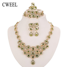 crystal pendant beads 2019 - whole saleWomen African Beads Jewelry Sets For Party Bridal Imitated Crystal Wedding Dress Accessories Set Earrings Pend