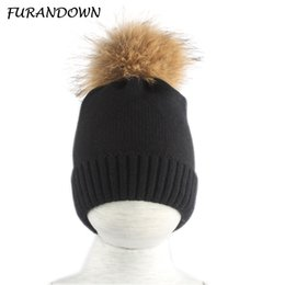 2bf330d6506 New Winter Hats For kids Girls Boys Big Fur Pompom Beanie Hat Children Warm  Knied Skullies Beanies