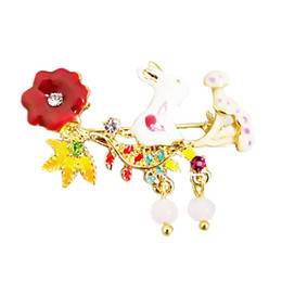 $enCountryForm.capitalKeyWord UK - 2018 new sweety Fashion exquisite enamel glazes cute flower little bunny brooch scarf buckle rabbit clothing accessories