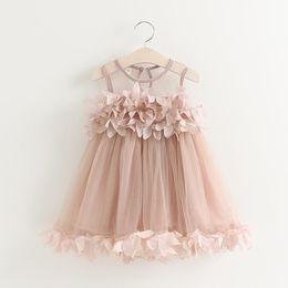 Childrens wedding dresses wholesale online shopping - Girls Kids Dresses New Summer Childrens Sleeveless Kids Clothing Floral Lace Cake Wedding Dress