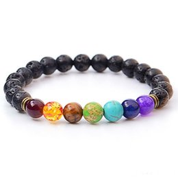 reiki healing wholesalers UK - Natural Black Lava Stone Bracelets 7 Reiki Chakra Healing Balance Beads Bracelet for Men Women Stretch Yoga Jewelry