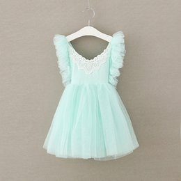 Wholesale 2018 Girl Kids Summer halter dress lace dress girl tutu dress Party Dresses Kids vest dresses
