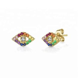 Discount bright eyes - lucky evil eye charm Gold silver plated 925 sterling silver rainbow colorful cz paved bright silver eye stud earring
