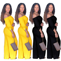 1f940b45506 Sexy Club Party Off Shoulder Wide Leg Loose Jumpsuit Overalls Women Elegant Long  Pants Work Wear Formal Evening black Outfits