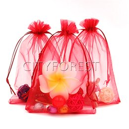 $enCountryForm.capitalKeyWord UK - 100 Pcs   lot Red Organza Drawstring Pouches Jewelry Wedding Favor Gift Bags 13cm x 18cm Christmas Candy Bags Multi-functional storage