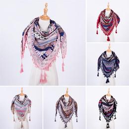Scarf Square Cotton Australia - Fashion Women Boho Long Blanket Scarf Square Scarves Tassel Printed Wraps Ladies Shawls Autumn winter Luxury Bohemia Scarves