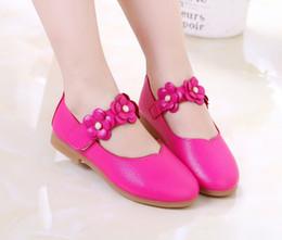 1086dd4607 Blanco rosa niños bebé niño de las flores de los niños del vestido de  fiesta de la princesa zapatos de cuero para niñas zapatos de baile escolar