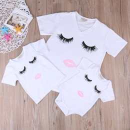 Discount mother daughter shirts - Parent-Child Outfit Eyelash Lips Printed T-Shirt Mother and Daughter Blouse Hot