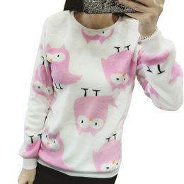 Flannel Sweatshirts Canada - Soft Flannel Pullovers Female 2018 Autumn Winter Casual Clothes Kawaii Harajuku Hoodies Women Sweatshirts Long Sleeve