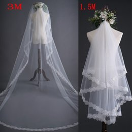 Lace Cathedral Veils 3m 5m Long One Layer Ivory White Elegant Wedding Accessory