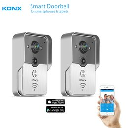 PeePhole door night online shopping - 2017 KONX WiFi Wireless Video Door Phone intercom Doorbell peephole Camera PIR IR Night Vision Alarm Android Smart Home