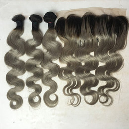 gray ombre virgin hair 2019 - Sliver Grey Ombre Human Hair Weaves With Lace Frontal Gray Virgin Malaysian Hair Bundles With Lace Frontal Closure Two T