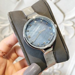 Wholesale New Fashion Top Brand Women Watch Shell dial Blue Color Special Dress Watch For Lady stainless Steel Luxury Wristwatch