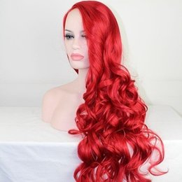 red lace front wig human hair 2019 - Supplier in stock 100% unprocessed remy virgin human hair long new aaaa red body wave full lace cap wig for women discou