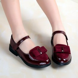 $enCountryForm.capitalKeyWord Australia - Sweet Kids Girls PU Leather Bow Dance Party Shoes Bow Candy Color Red Black and Burgundy Spring Autumn Christmas Dress