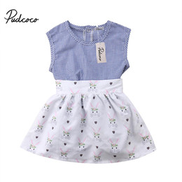 4844f8913b93 2018 Newborn Toddler Kid Baby Girl Summer Plaid Sleeveless Romper Tops+  Bunny Strappy Skirt 2Pcs Clothing Outfit Set 6M-4T