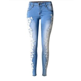 $enCountryForm.capitalKeyWord UK - 2016 Fashion Lace Women Jeans Plus Size Sexy Hollow Out Flower Hook Tight Feet Pencil Pant Skinny Plus Size Woman Jeans 40