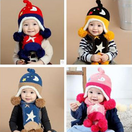 $enCountryForm.capitalKeyWord NZ - New Winter Baby Plush Hat Kids Cotton Hat Caps Boys Girls Star Moon Hat Scarf Wool Velvet Suit