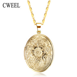 Vintage Style Locket Necklace NZ - whole saleCWEEL Vintage European Style Photo Lockets Gold Color Necklace For Women Men Fashion Jewelry Statement Pendents Valentines Gift