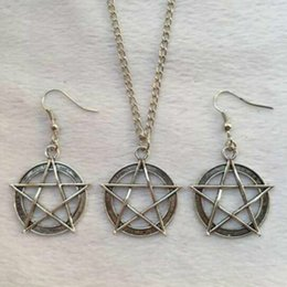 Holiday Earrings NZ - Hot Sale Popular Alloy Antique Silver Five-pointed Star Charms Pendant Necklace Earring Set Creative Women Jewelry Accessories Holiday Gift