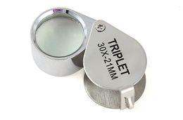 Мини 30x21 мм Ювелирные изделия Глазные Лупы Ювелирные изделия Лупы с бриллиантами Увеличительное стекло Гениальный портативный Лупа Лупа Серебряного цвета в коробке на Распродаже