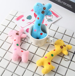 $enCountryForm.capitalKeyWord Australia - Mini Plush Toys 3Colors Giraffe 12CM Stuffed TOY DOLL Wedding Bouquet toys Plush Keychain String DOLL YH1525