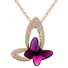 7272787ca1f0 Mariposa Colgante Collar de Cristal de Swarovski Elements Collares de Cadena  Lindo Para Las Mujeres Niñas Joyería de Moda Champagne Chapado En Oro 2018