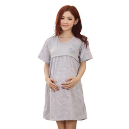 China Home Breastfeeding maternity nightgown pajamas Nursing nightie maternity-dress for lactating mothers Clothes pregnant women cheap nursing breastfeeding clothing suppliers