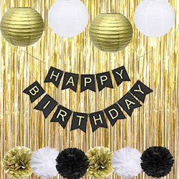 Black Gold Party Decorations With Happy Banner Lantern Flower For 18th 20th 21st 30th 40th 50th 60th 75th 80th Adult Birthday