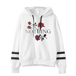 White Rose Pullover UK - Women Fashion Sweatshirt Womens Print Rose Letter Long Sleeve Hoodie Sweatshirt Jumper Hooded Pullover High Quality Tops Dropshipping Hot