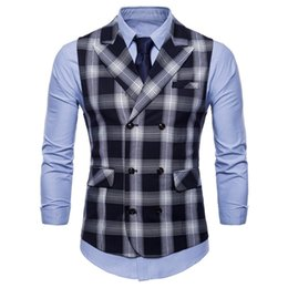 Casual blazers style for men online shopping - High Quality Spring Autumn Men Blazer Vests England Style Clothing For Male Business Casual Sleeveless Plaid Plus Size Tops