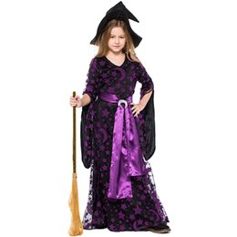 China 2018 New Child Witches Costumes Moons And Stars Purple Long Dresses For Girls Cosplay Halloween Girl Perfect Dress Up Party Clothing suppliers