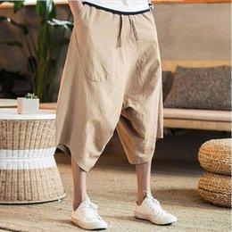 c31660e538f 7Colors 4XL 5XL Plus Size man Summer Casual Linen Harem Beach Pants Loose  Hiphop wide leg cross Pants boys cotton Male Jogger trousers M