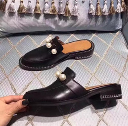 Flats Moccasins Shoes women genuine leather beading pearl dress shoes  rivets slip-on casual summer slipper brand scuffs black spring loafers e2bc285e6832