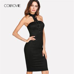 48125a1ccc9 COLROVIE люверс зашнуровать форма установки Холтер платье 2018 новый черный  рукавов Холтер Bodycon платье длиной до колен партии женщин