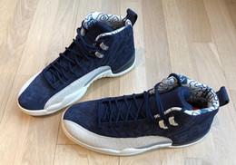 Mesh Fiber Australia - 2018 Newest 12 International Flight 12S Tokyo Japan Blue White Men Basketball Shoes Authentic College Navy 130690-445 Carbon Fiber Sneakers