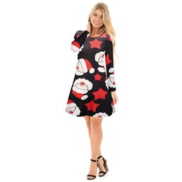 Wholesale woman halloween dresses plus size online – ideas 2018 New Styles Colors Autumn Winter Women Christmas Dress Plus Size Print Dress Midi Elk Snowflake Long Sleeve A Line Party Dress