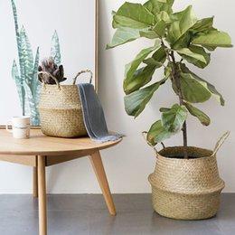 Canestro d'attaccatura del vaso del fiore del giardino del vaso tessuto immagazzinato naturale pieghevole di Seagrass con il cestino gonfiato stoccaggio della maniglia