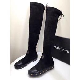 5e4816f705d Nueva llegada Moda Diseñador de lujo Mujeres Botines Marca italiana Botas  sobre la rodilla Cuero de gamuza negro Cordones hasta el muslo Botas de  fiesta