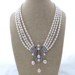 """Necklaces Pendants Australia - N112405 4 Strands 18"""" White Rice Pearl Necklace CZ Pendant"""