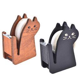 Cute Cutter Australia - MiniWashi CuttingHolder PackingMachine Split Sealer Kit Vintage Wooden Cute Kawaii CatTape Dispenser Cutter