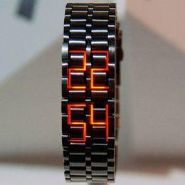 $enCountryForm.capitalKeyWord NZ - Classic LED Stainless Steel Black Dial Wrist Watch Men Minimalist Red Digital Watches Males Reloj