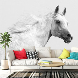 Youman 3D Custom Photo Modern Simple Style Mural Wallpaper Roll Animal  Artistic White Horse White Wall For Living Room Bedroom Horse Wallpaper For  Walls On ...