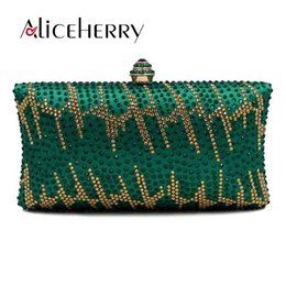 Vintage Green Crystal Evening Party Luxury Designer Box Clutches Women  Handbag Purse Bridal Wedding Chain Prom Shoulder Bag 9205c0a02101e