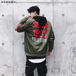 Korean green jacKet online shopping - VERSMA Korean Harajuku Ulzzang Hip Hop Male Biker Jacket Coat Autumn Streetwear Bomber Jacket Men Windbreaker Dropshipping