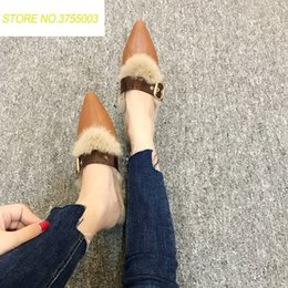 cad59609aac2 2018 Sexy Pointed Toe Mules Shoes Women Warm Plush Fluffy Fur Slippers Autumn  Winter Outdoor Furry Slides Home Slippers discount plush fluffy shoes