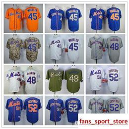 683ad0edf 2019 Mens Mets 45 Zack Wheeler 48 Jacob deGrom 52 Yoenis Cespedes baseball  Jerseys color blue gray camo green white red size S-XXXL