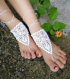 $enCountryForm.capitalKeyWord Australia - Crochet white barefoot sandals Nude shoes Foot jewelry Beach wear Yoga shoes Bridal anklet bridal beach accessories white lace sandals S201